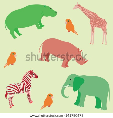 Seamless colorful pattern with african animals. Raster copy of 137735807. - stock photo