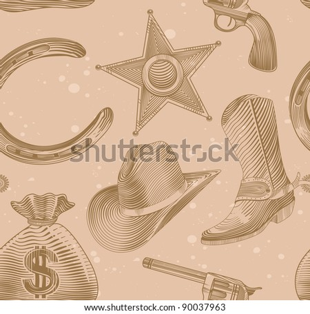 seamless cowboy pattern in engraving style - illustration - stock photo