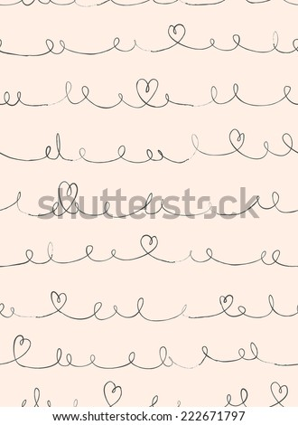 seamless curl line with heart  - stock photo