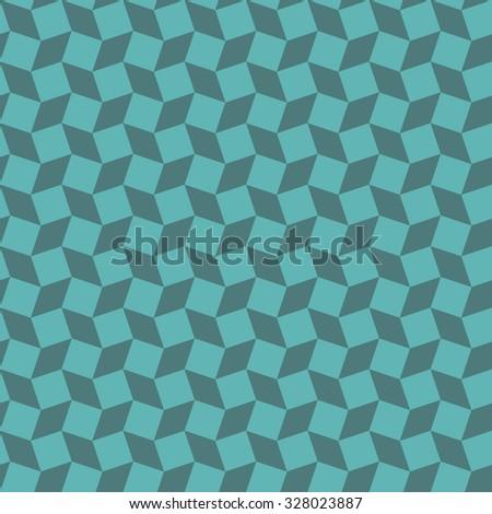 Seamless cyan op art distorted cubes pattern - stock photo