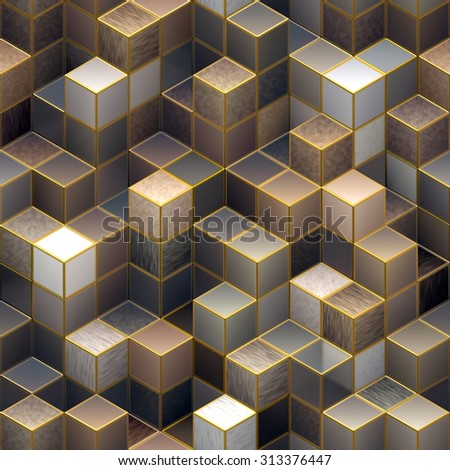 Seamless  3D cubic abstract pattern - stock photo