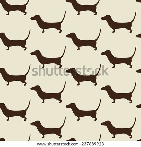 Seamless dachshund pattern with repeating cute brown dachshund silhouette on beige background. For holiday decoration, textile, wrapping paper, wallpaper, gift boxes, other packing elements - stock photo