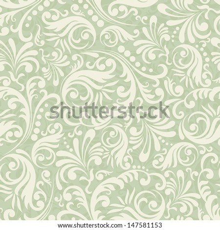 Seamless Damask background in the style of green - stock photo