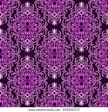 Seamless damask floral Wallpaper in pink Colors. Raster version. - stock photo
