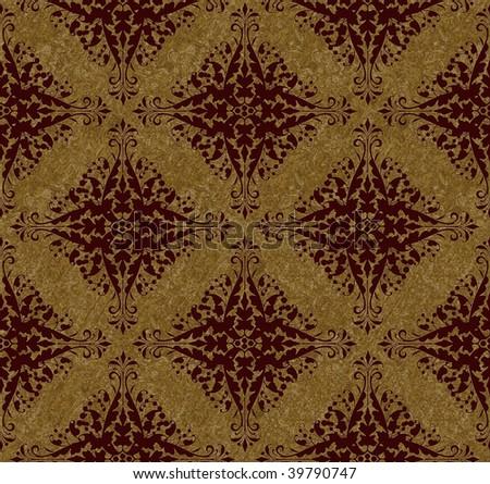 Seamless damask pattern - stock photo