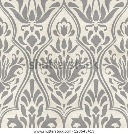 Seamless damask pattern on paper texture. Classic background - stock photo