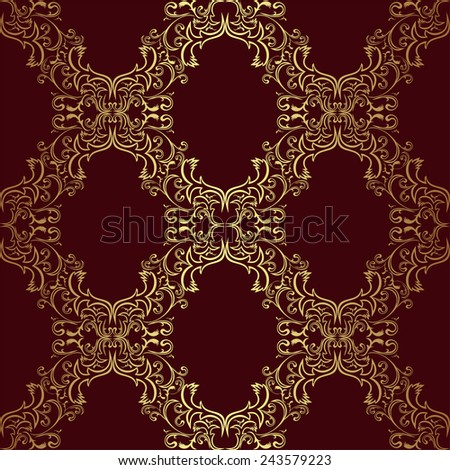 Seamless damask Wallpaper - gold on red. Raster version. - stock photo