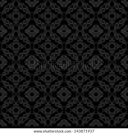 Seamless Dark Damask - stock photo