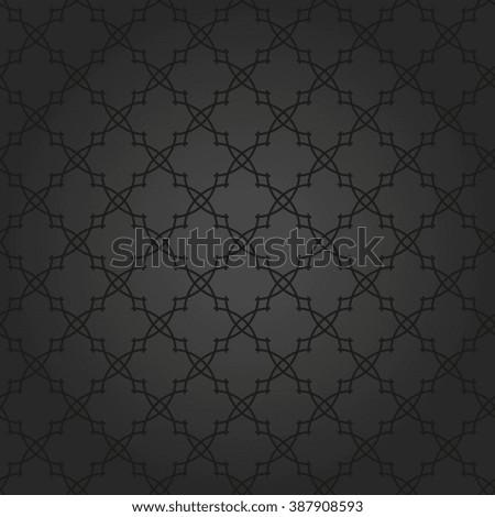 Seamless dark ornament. Modern stylish geometric black pattern with repeating elements - stock photo
