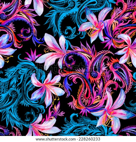 seamless dark paisleys pattern with flowers. midnight jungle flowers with traditional elements. - stock photo