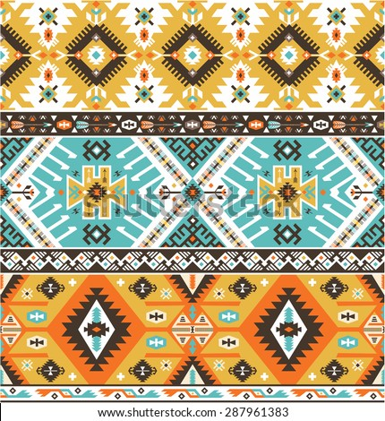 Seamless decorative bright pattern in aztec style - stock photo