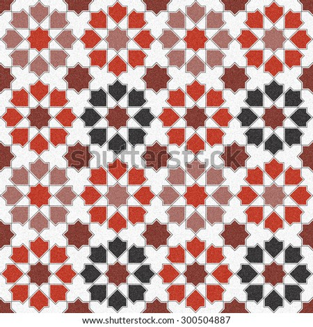 Seamless design mosaic of colorful tiles pattern in red white and black. - stock photo