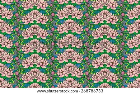 seamless design of water lilies - stock photo
