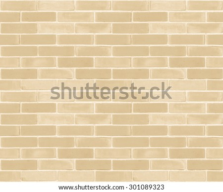 Seamless design vintage style yellow beige cream tone brick wall detailed pattern textured background: Seamless retro grungy brickwork masonry detail backdrop in light creme brown color tone  - stock photo