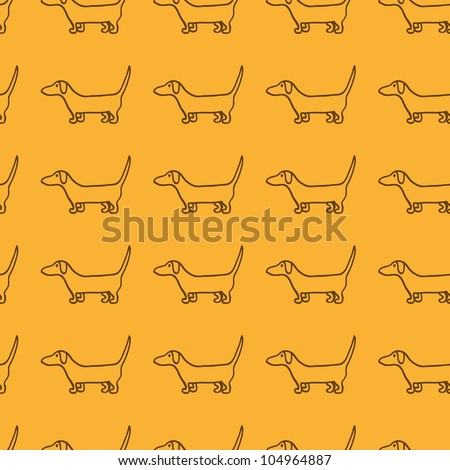 Seamless dog pattern with repeating cute brown dachshund silhouette - stock photo