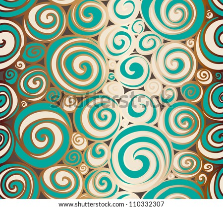 Seamless doodle abstract swirls pattern. Raster. - stock photo