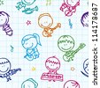 Seamless doodle background with happy children band with musical instruments on school paper texture - stock photo