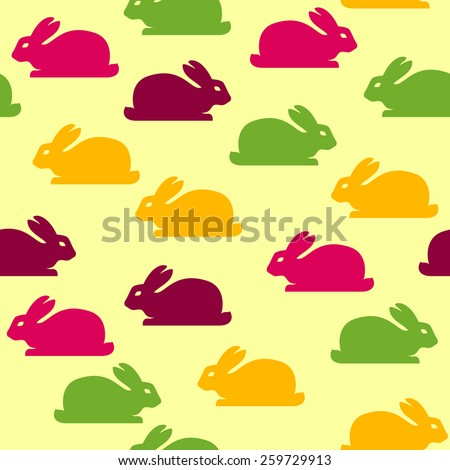 Seamless Easter pattern with funny bunnies. Raster version - stock photo