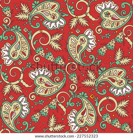 Seamless (easy to repeat) paisley pattern background (swatch, wallpaper, tile, print, texture), suitable for Christmas projects  - stock photo