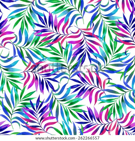 seamless elegant foliage pattern. floral elements in vibrant colors - stock photo