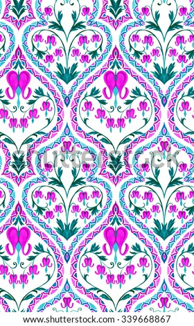 Seamless elegant wallpaper pattern with very gentle ornaments and flowers. Artistic vintage bleeding hearts illustration, with beautiful decorative border.  - stock photo