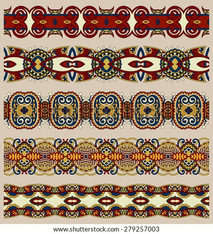 seamless ethnic floral paisley stripe pattern, border set, ukrainian tribal ornament for print or embroidery ribbon, or for the design in beige color, raster version - stock photo