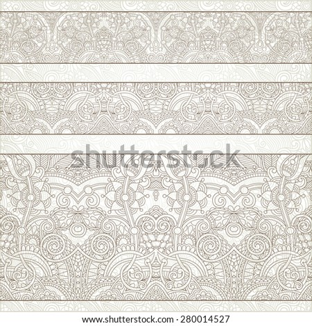 seamless ethnic floral paisley stripe pattern, border set, ukrainian tribal ornament for print or embroidery ribbon, or for the design of polygraphy or web,  raster version illustration - stock photo