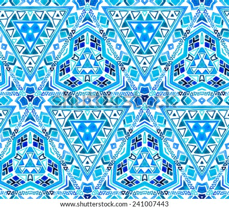 Seamless ethnic tiles pattern. Geometric tribal shapes. Aztec design in polygon reflecting. - stock photo
