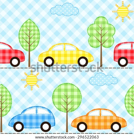 Seamless fabric background with cars. Raster version - stock photo