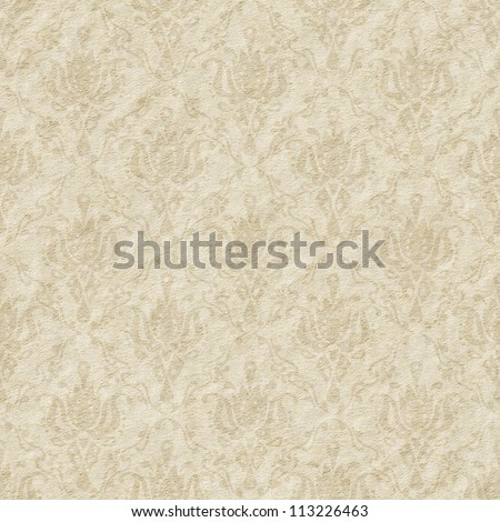 Seamless faded paper with floral ornate background - texture pattern for continuous replicate. - stock photo