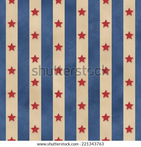 Seamless Faded Stars & Stripes Pattern - stock photo