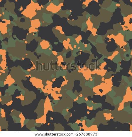 Seamless fashion woodland with orange spots camouflage pattern - stock photo