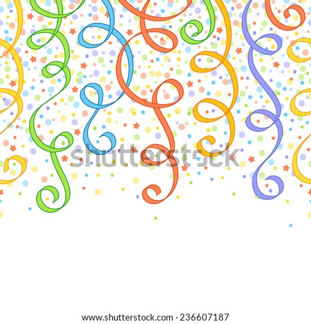 Seamless festive pattern with colourful ribbons, circles and stars - stock photo