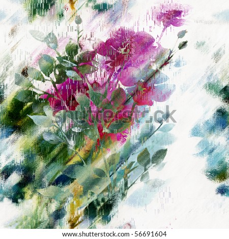 Seamless Floral Art - stock photo