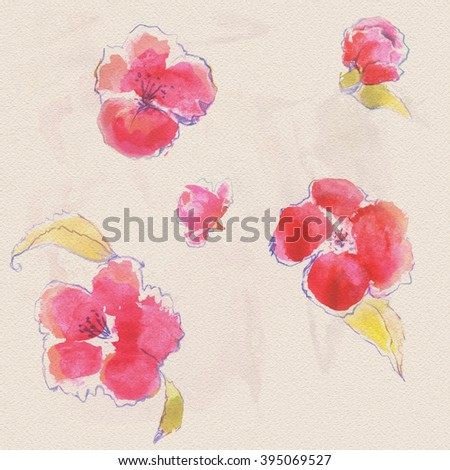 Seamless floral background of blossoming peach branches. Painted by hand. Watercolor. Spring flowers - stock photo