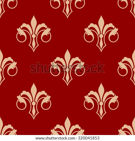 Seamless floral elegant fleur-de-lis royal gold lily pattern in antique style motif, yellow flowers over red background. Suitable for wallpaper, tiles and fabric design - stock photo