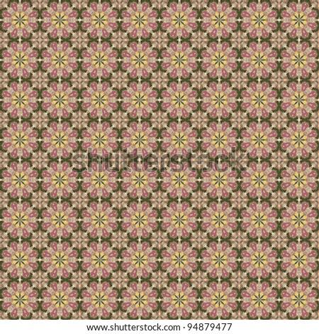 Seamless Floral Kaleidoscope Mandala Background Wallpaper - stock photo