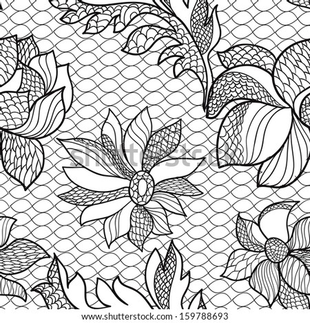 seamless floral lacy pattern - stock photo