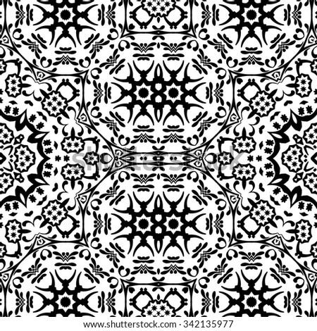 Seamless Floral Pattern, Black Contours Isolated on White Background.  - stock photo