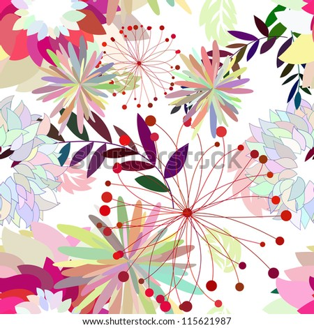 Seamless floral pattern. For easy making seamless pattern just drag all group into swatches bar, and use it for filling any contours.Raster version. - stock photo