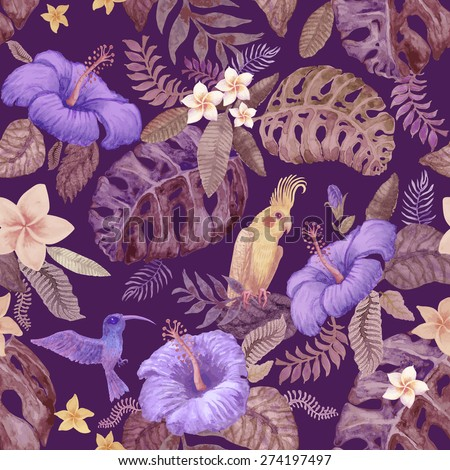 Seamless floral pattern from hand drawn watercolor violet hibiscus flowers, yellow Australian parrot, exotic small birds and fantasy tropical foliage on dark indigo blue background - stock photo