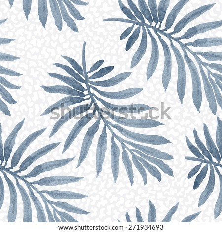 Seamless floral pattern from painted palm leaf silhouette with blue watercolor texture on light grey dappled background - stock photo