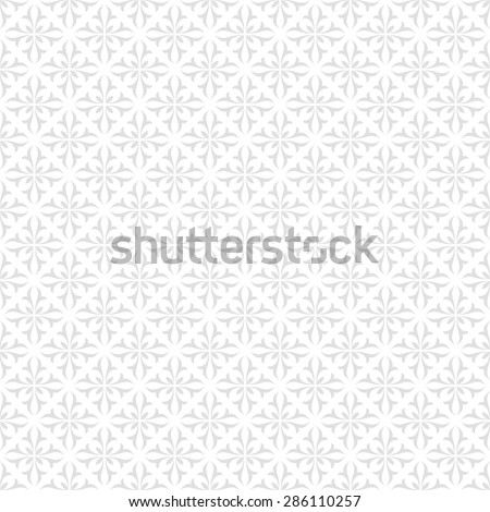 Seamless floral pattern, gray and white ornament. Light background - stock photo