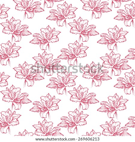 Seamless floral pattern.  Hand drawn fuchsia red tulips.  Isolated on white background. Fabric texture. Template for scrapbook. - stock photo