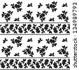 Seamless floral pattern: leaves, plants and lines, black silhouettes on white background. - stock photo