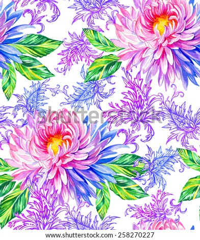 seamless floral pattern, on white background. gorgeous exotic chrysanthemum flowers, paisleys and tropical zebrina leaved. very elegant and gentle design - stock photo