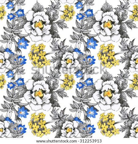 Seamless floral pattern on white background with watercolor summer meadow blooming flowers - stock photo