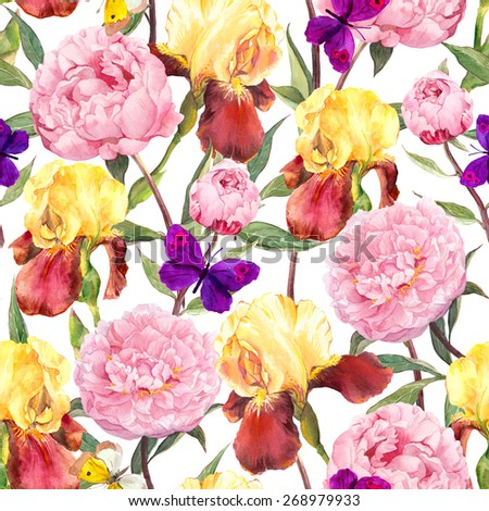 Seamless floral pattern. Peonies pink flowers, iris flower and butterflies. Watercolor - stock photo