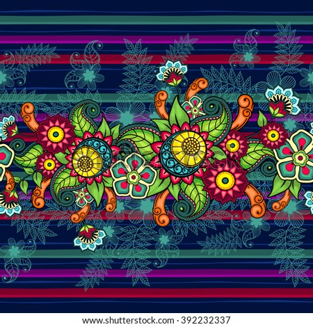 Seamless floral pattern Seamless floral pattern bright colors and stripes - stock photo