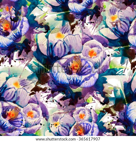 Seamless floral pattern. Texture with watercolor spring flowers. Crocuses or tulips. Freehand drawing - stock photo